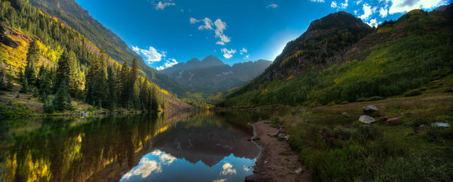Maroon Bells (colorful mountains with a lake in the foreground)