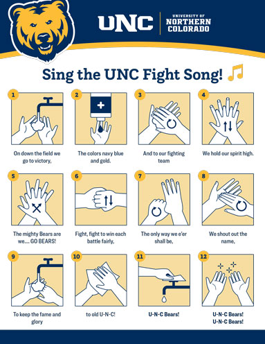 Washing your hands to the UNC Fight Song