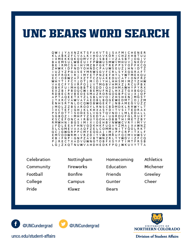 UNC Homecoming themed word search