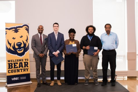 Africana Studies students George Blankley IV, Martha Kibozi, Ashley Register, and Dorian Wilkerson were recognized on April 14th for excellence in their program. Congratulations! View the event program. See all the event photos.v