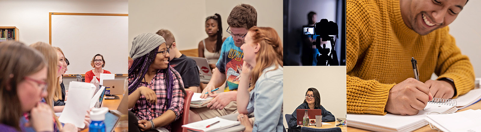A collage of images of actual English students and instructors in actual English classrooms at UNC.