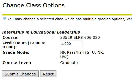 Change Class Options
