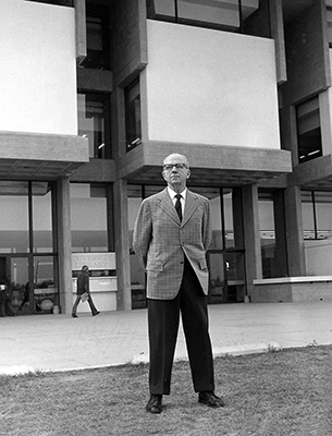 James Michener, in front of Michener Library