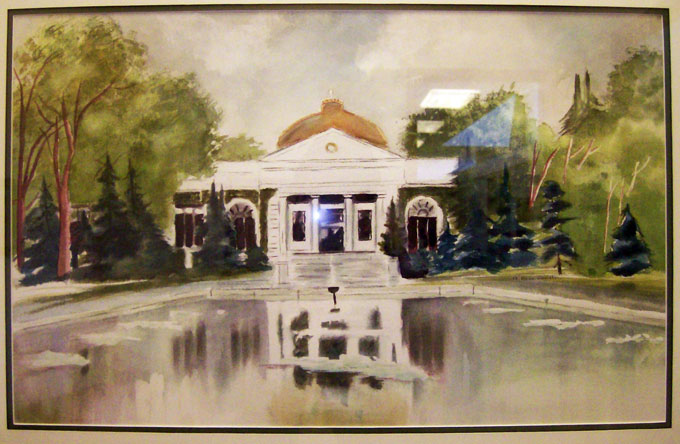 M. Rock Daniels watercolor of old library