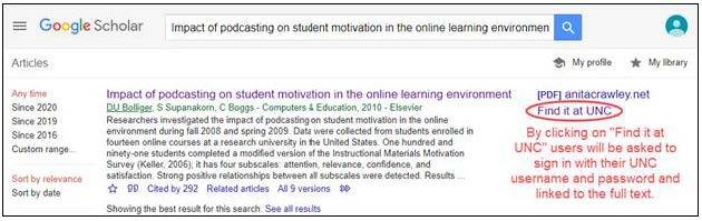 "Screen shot of Google Scholar showing ""Find it at UNC"" link"