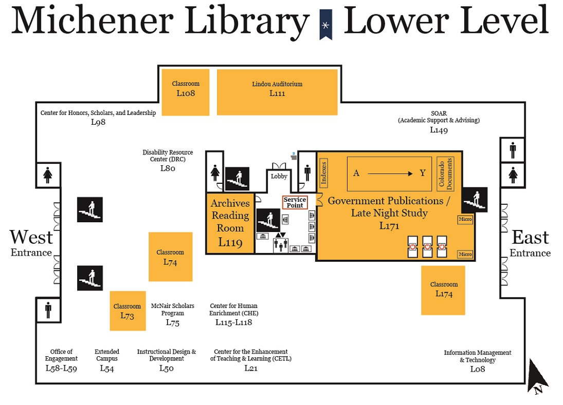Map of Michener Library lower level