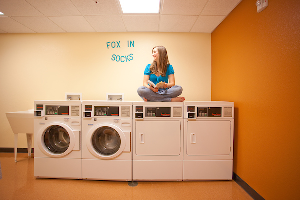 Laundry room in one of the residence halls