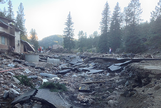 damaged road in Glen Haven