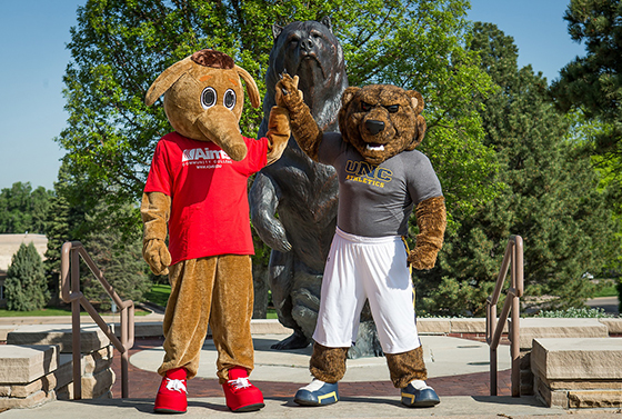 mascots of UNC and Aims