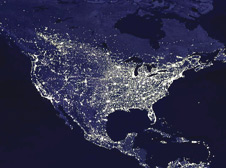 NASA Satellite Image of North America at night