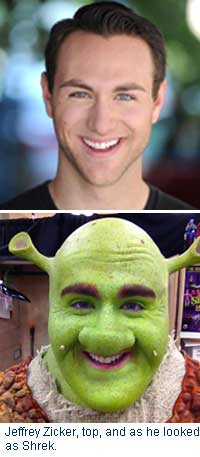 Jeff Zicker's publicity photo and photo of him as Shrek