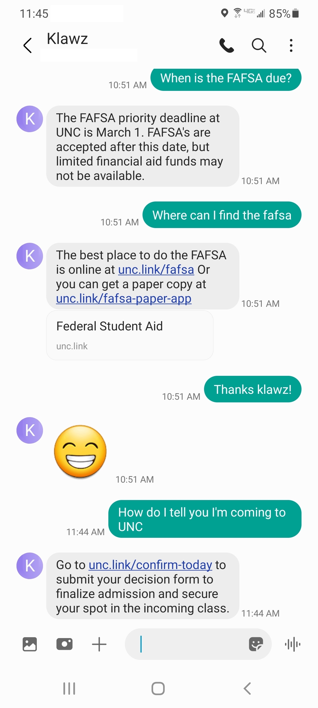 An example of the Klawz Chatbot in action, answering questions about the FAFSA