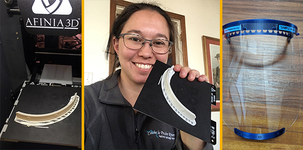 3D-printed face shield parts with Chelsie Romulo