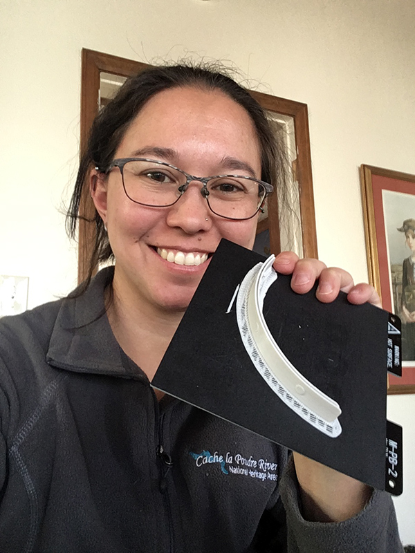 Chelsie Romulo holding the 3D printed piece