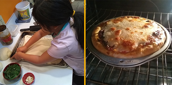 Making a low-cost pizza with simple supplies