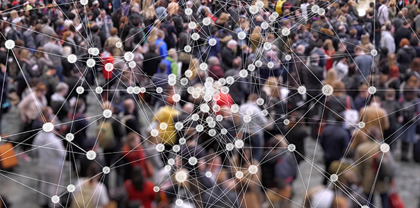 Crowd of people with connecting dots and lines