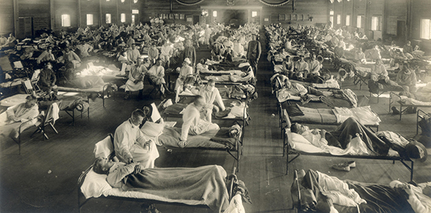 Soldiers from Fort Riley, Kansas, ill with Spanish flu at a hospital ward at Camp Funston