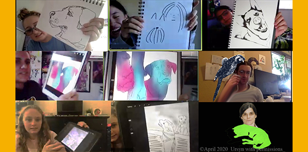Students showing up some sketches on a Zoom meeting