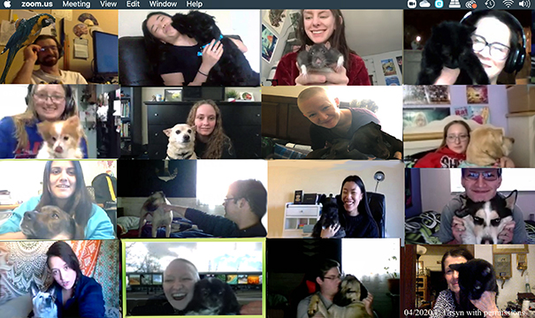 students showing off their pets on a Zoom meeting