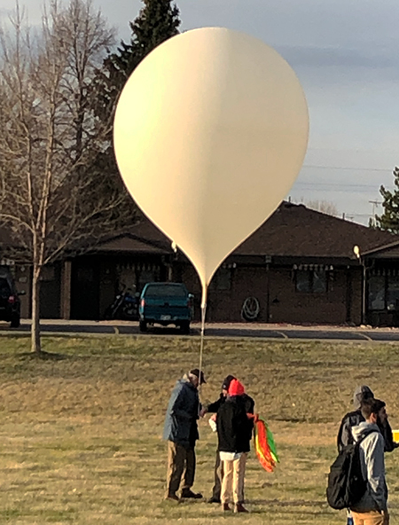 The balloon being prepared to launch five different payloads at Eaton Middle School on the morning of April 6, 2019.