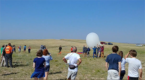 frame of launch of NASA weather balloon