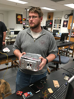 Josh Fender shows the enclosure