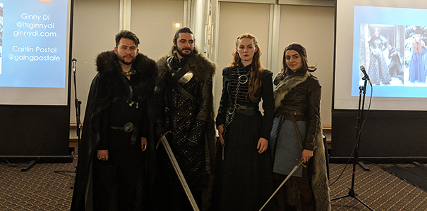 Cosplayers in Game of Thrones costumes for English class