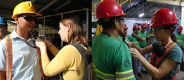 UNC grad students place dosimeters on sugar mill workers to measure sound levels