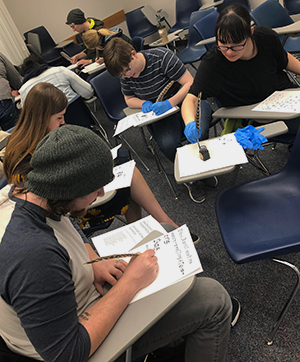 Students working on an assignment in class