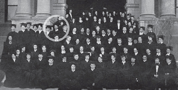 Lucile Buchanan with her graduating class at UNC