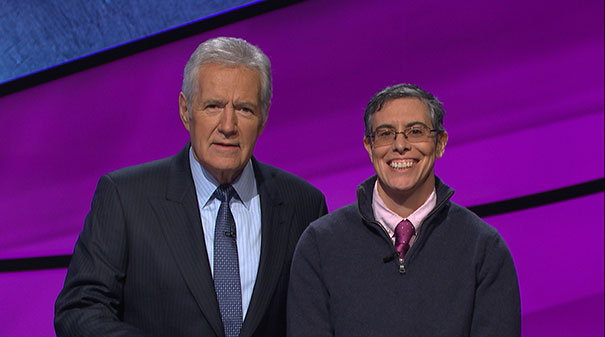 Lynn Klyde-Allaman pictured with host Alex Trebek.