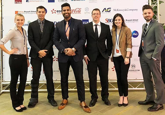 The students who competed in the business competition in Brussels.