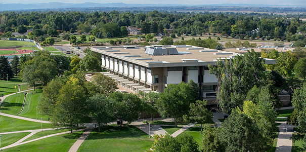 Aerial shot of Michener Library