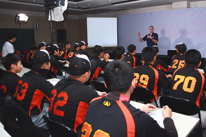 "Nichols presenting to Chinese ""pro"" youth athletes about motivation."
