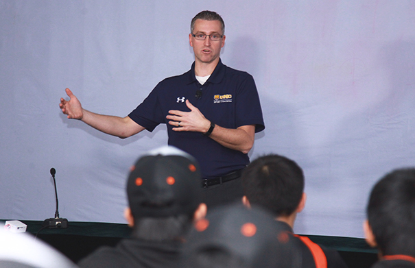 Nichols presenting in front of Chinese youth athletes in Dec. 2018.