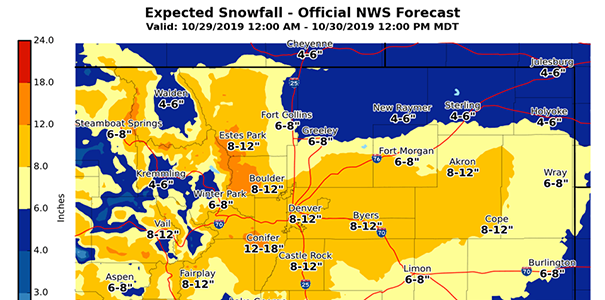 Forecast map of snowfall from NWS