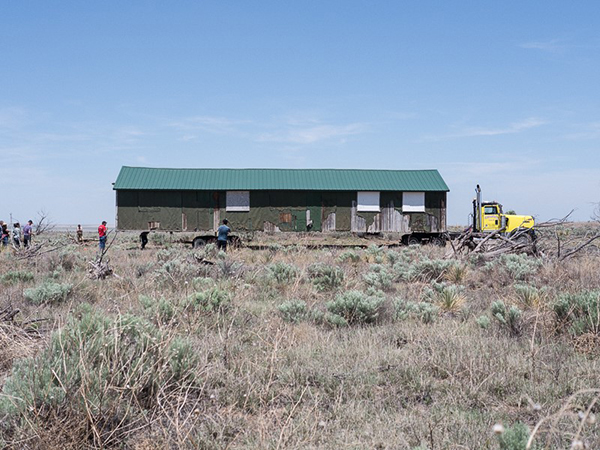 The old Rec Hall was returned to Amache in mid-May for educational and historical purposes.