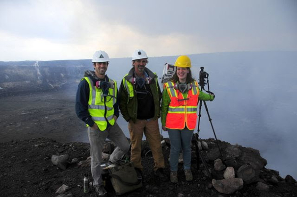 Dr. Anderson's graduate students at Kilauea: Amy Burzynski