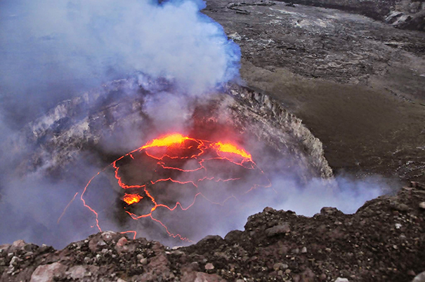 View of the lava lake at Kilauea volcano in Hawaii