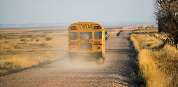 school bus on rural road