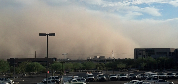 Dust storm forming from NOAA.