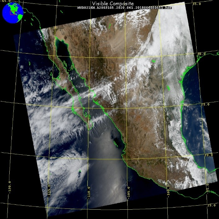 True color, satellite image of a dust plume forming over western Texas in 2003.