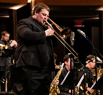 Zach Rich playing trombone