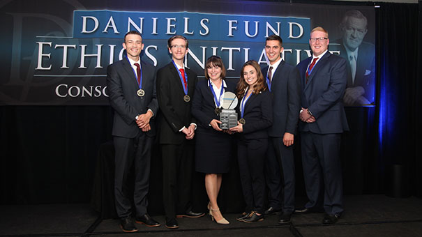 UNC students on the winning team are, from left: Christopher Campbell,Christopher Bristow, Michelle Ellison, Madison Marrs, Evan Adams, and Kendall Ryan.