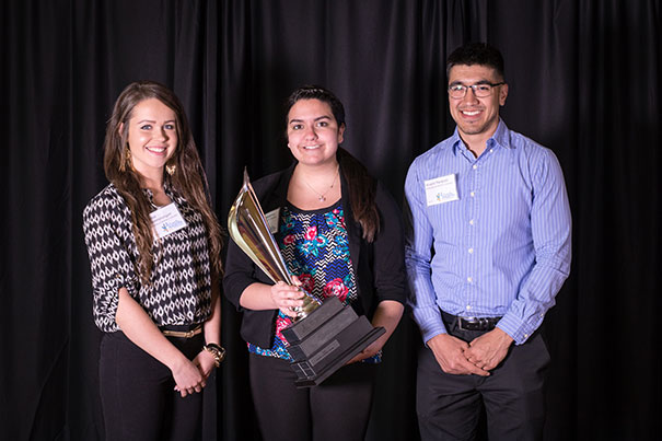 Winners of the BBB's Best Written Paper Nomination, from left: Alyssa VanAmerongen, Kady Barthelemy and Alvaro Marquez.