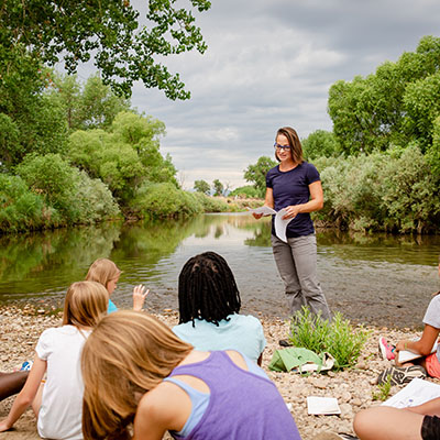 Dr. Bywater-Reyes teaches girls about rivers.