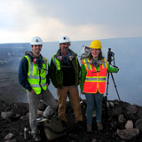 UNC EAS Department graduate students Adam LeWinter (left) and Amy Burzynski (right) with their advisory Steve Anderson (middle) at the active lava lake at Kilauea volcano