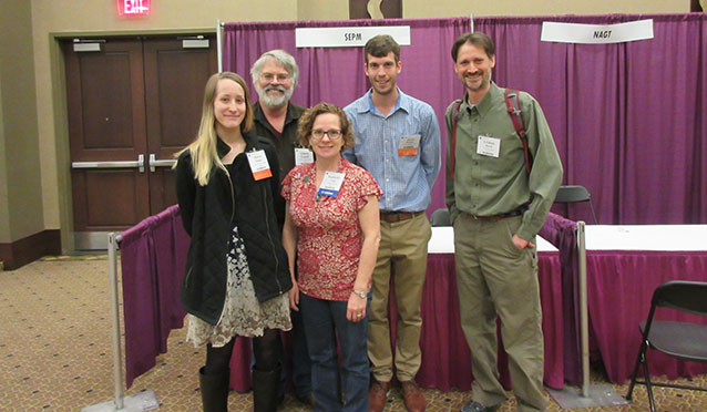 Simone Mulller, Dr. Evanoff, Kimberly Carr, Jacob Hooker and Dr. baird at the American Geological Society Conference