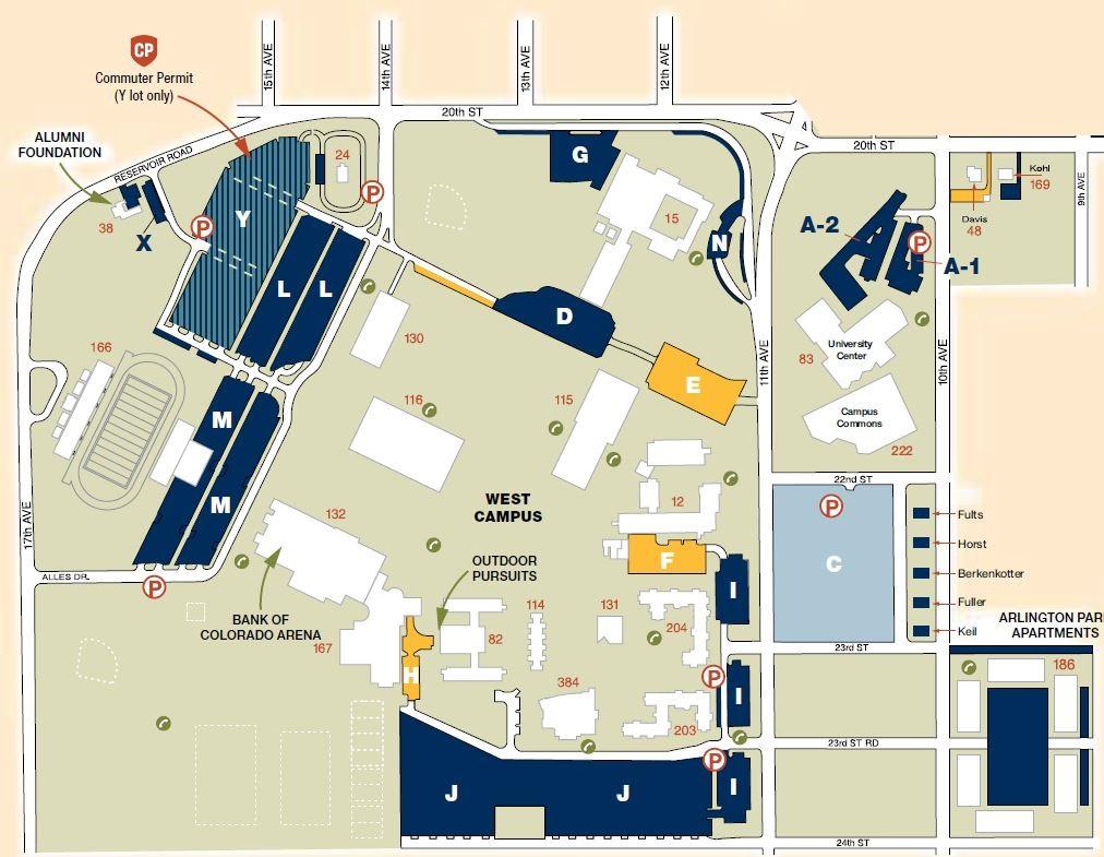 university of northern colorado campus map West Campus Map university of northern colorado campus map