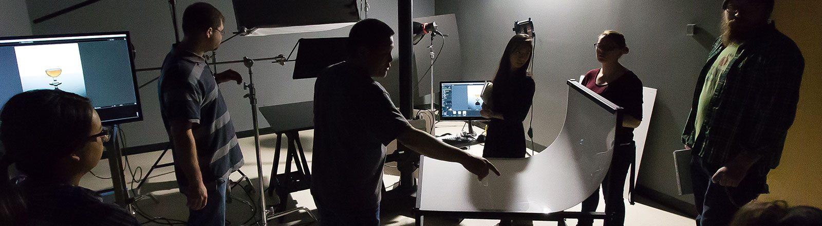 Students working in photo studio